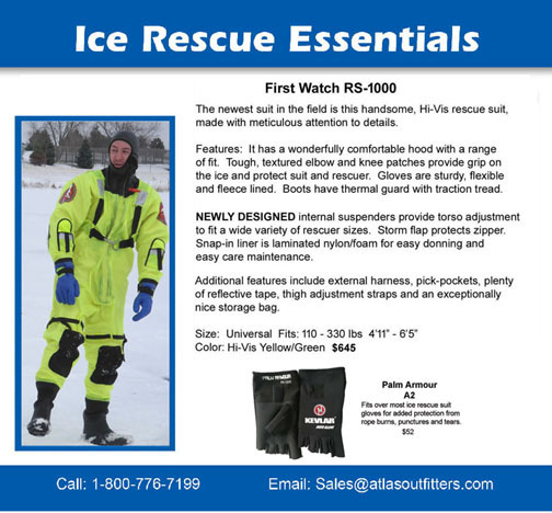 First Watch ice rescue suit and overgloves